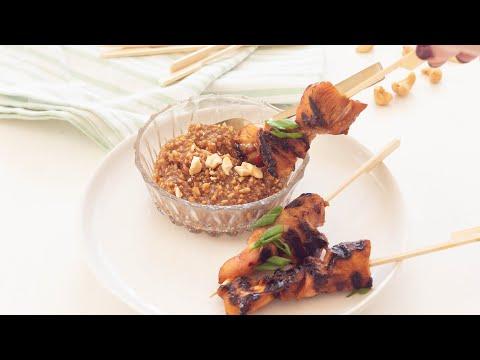Grilled pork tenderloin kebab with satay sauce
