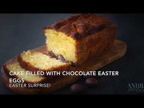 Cake filled with chocolate easter eggs
