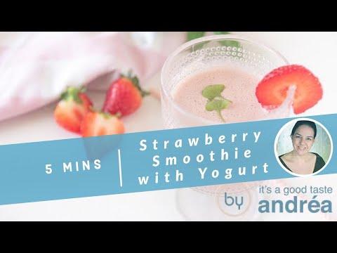 Strawberry smoothie with yogurt and basil