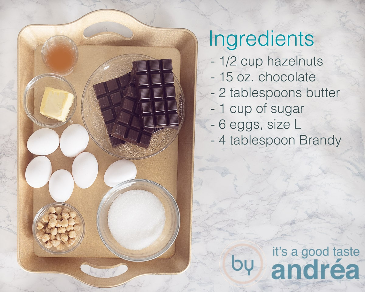 Ingredients dark chocolate mousse with hazelnuts and brandy