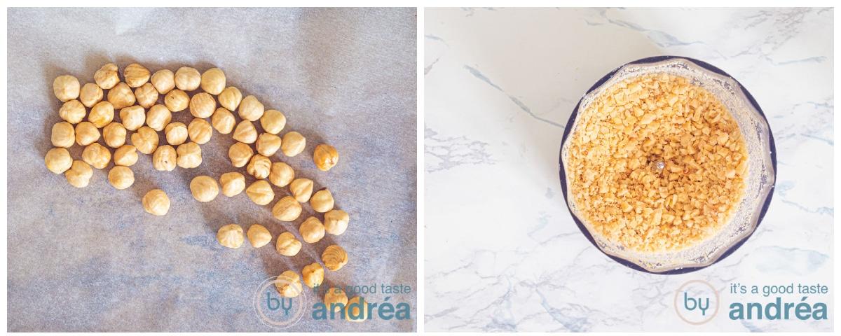 Roasted hazelnuts and grounded hazelnuts