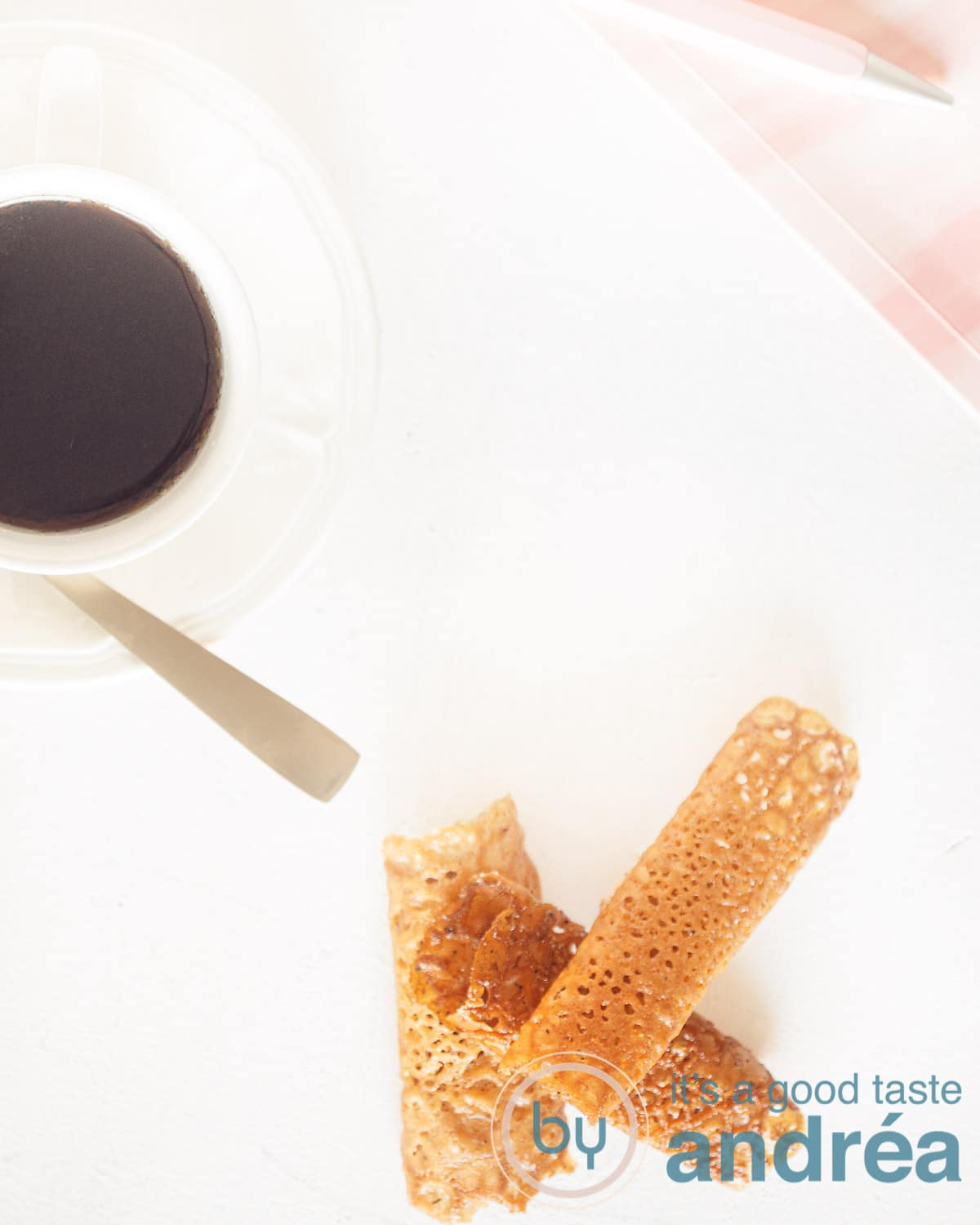 top photo from a cup of coffee, some honey lace cookies and a pink booke