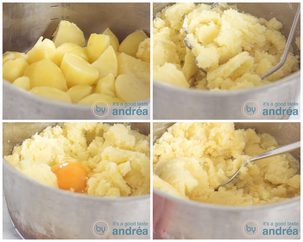 Preparing mashed potatoes in four steps
