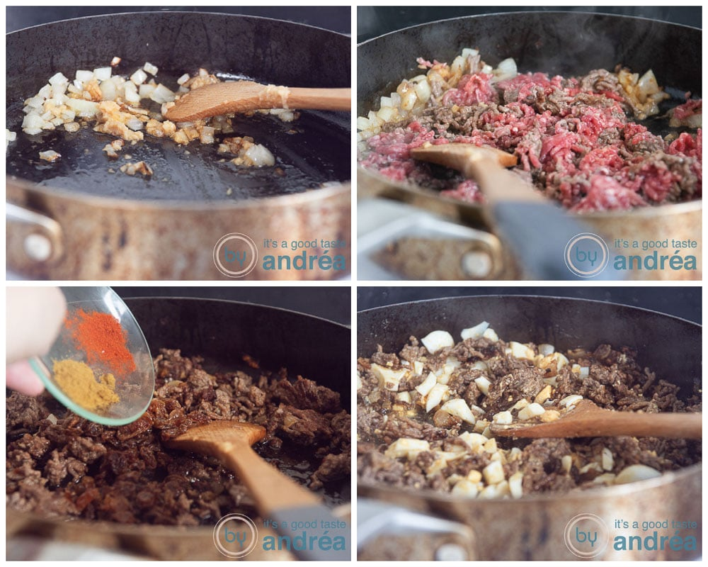 Preparing the beef filling in four steps