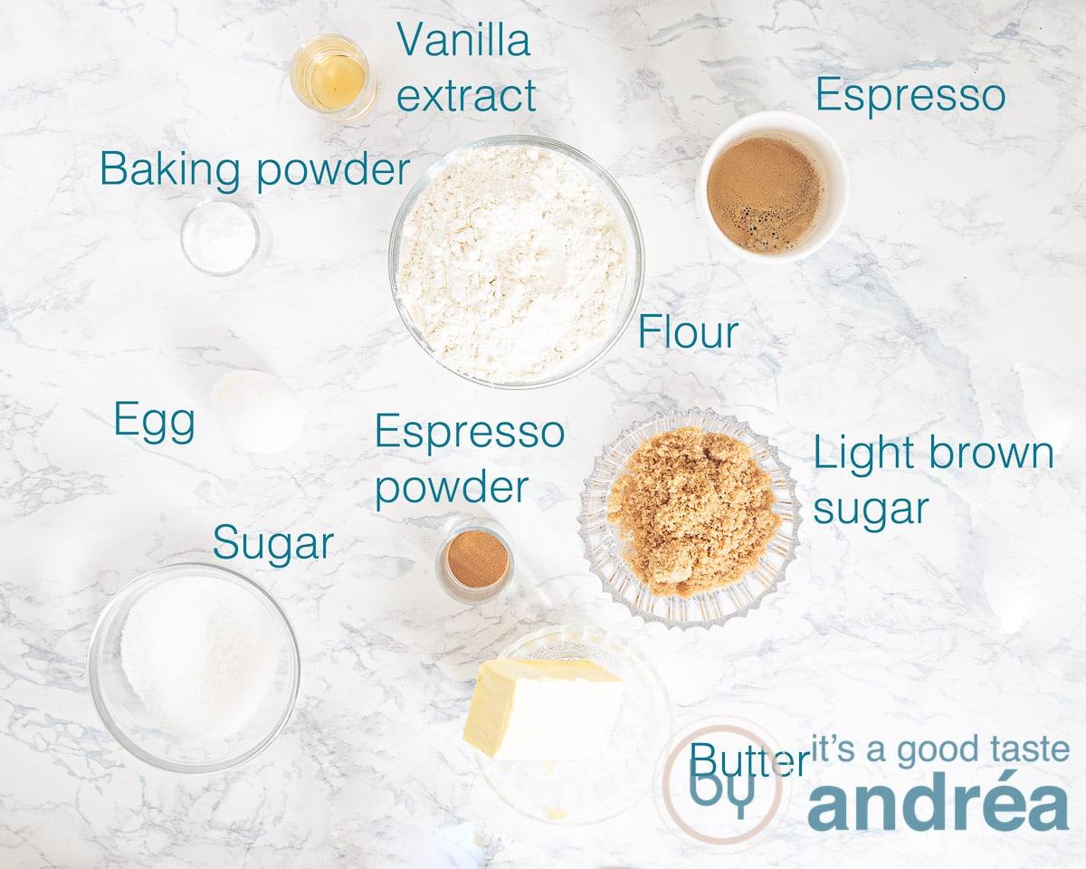 Ingredients coffee muffins
