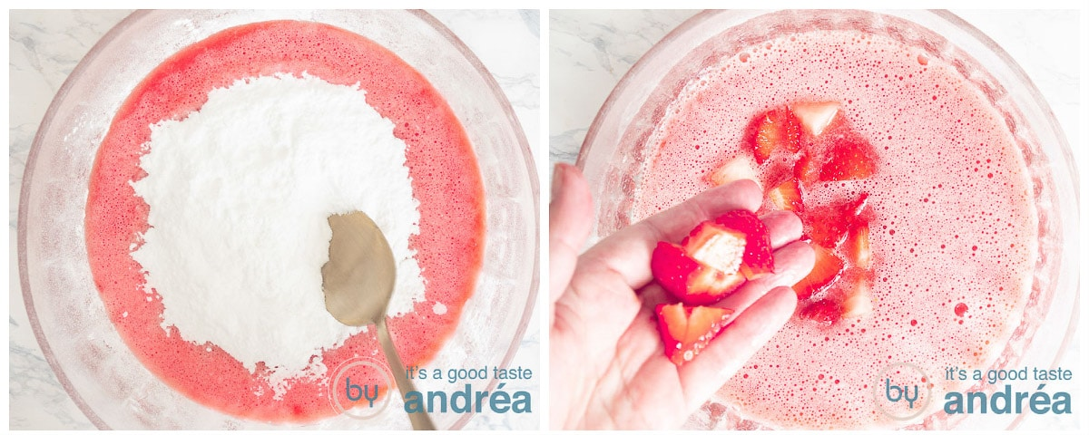 Add the confectioner's sugar and fresh strawberries