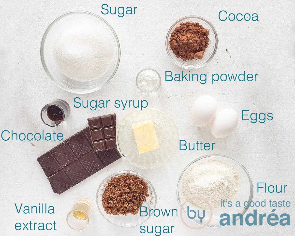 Ingredients to bake fudgy brownies