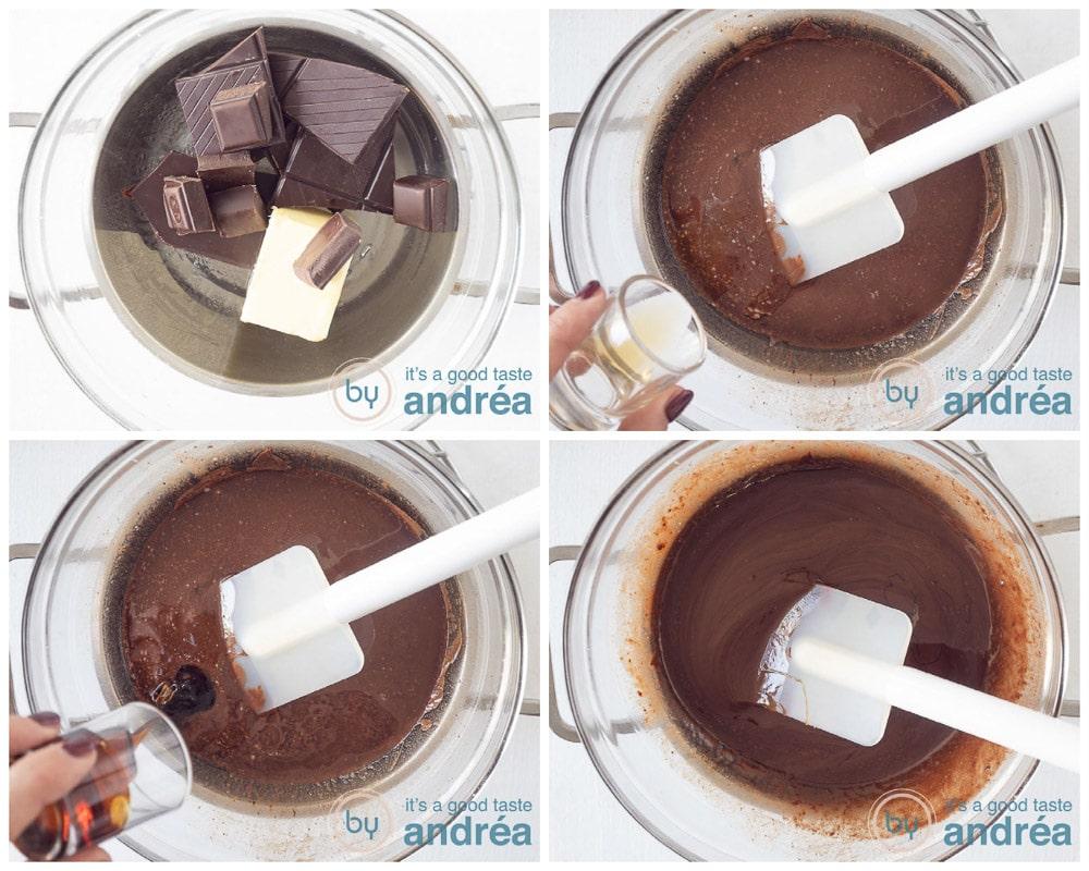 Melting chocolate au bain-Marie adding syrup and vanilla