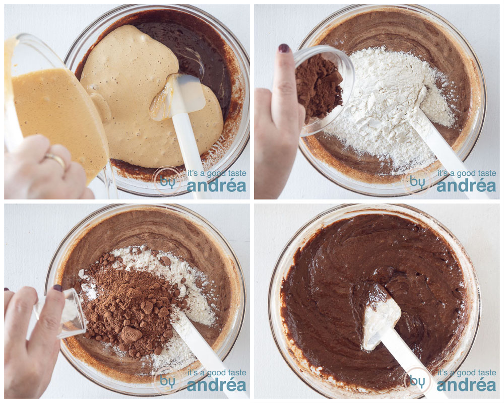preparation of the batter in four pictures