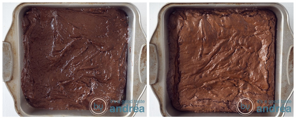 brownie batter in a pan and a second photo with baked brownies
