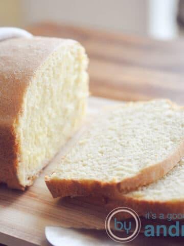 loaf of cornbread sliced