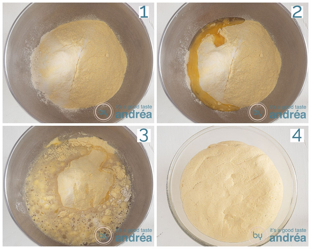 step 2 Put all the ingredients for the dough in a bowl and knead until you get a dough (in four steps)