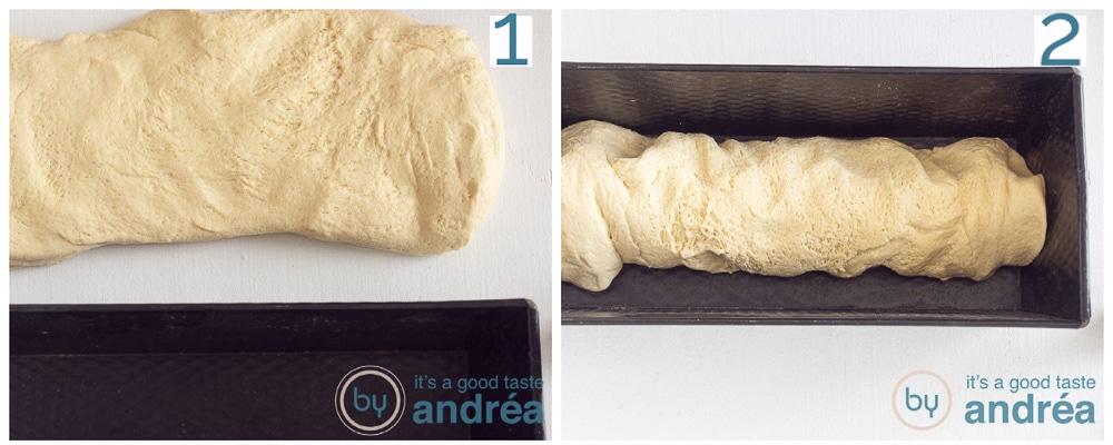 Stretch the dough and put it in the tin