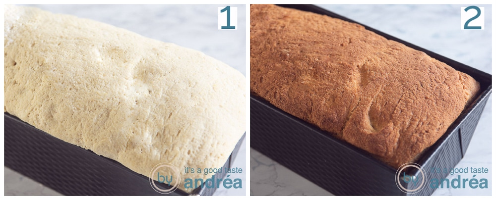put the dough in the baking tin and bake the bread