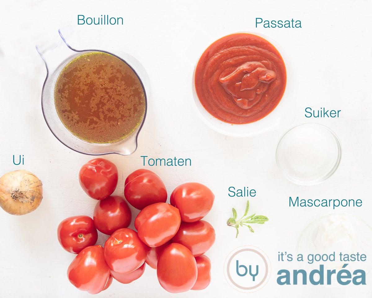 Ingredients Italian tomato soup with mascarpone