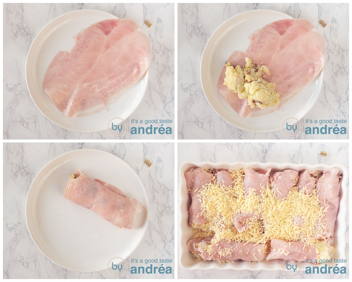 how to make ham rolls filled with mash