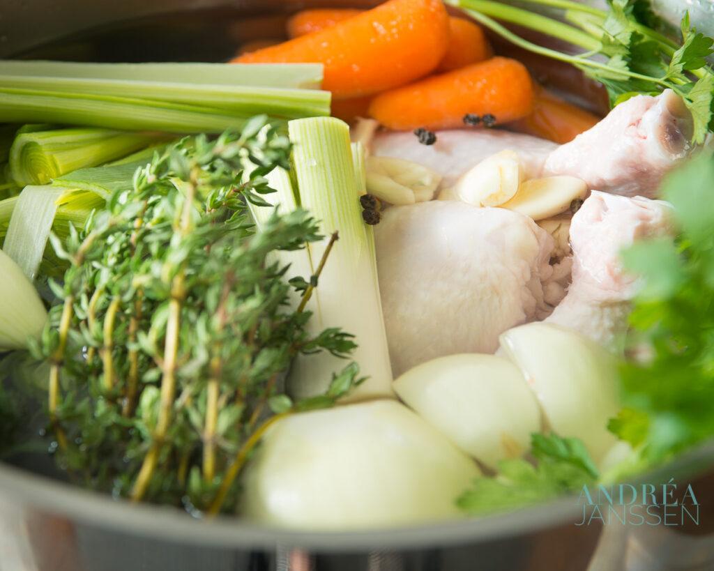 veggies in a souppan