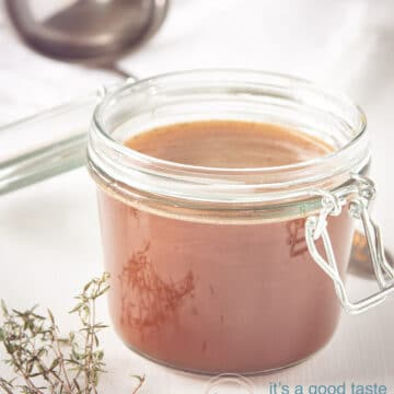 Jar with homemade beef stock