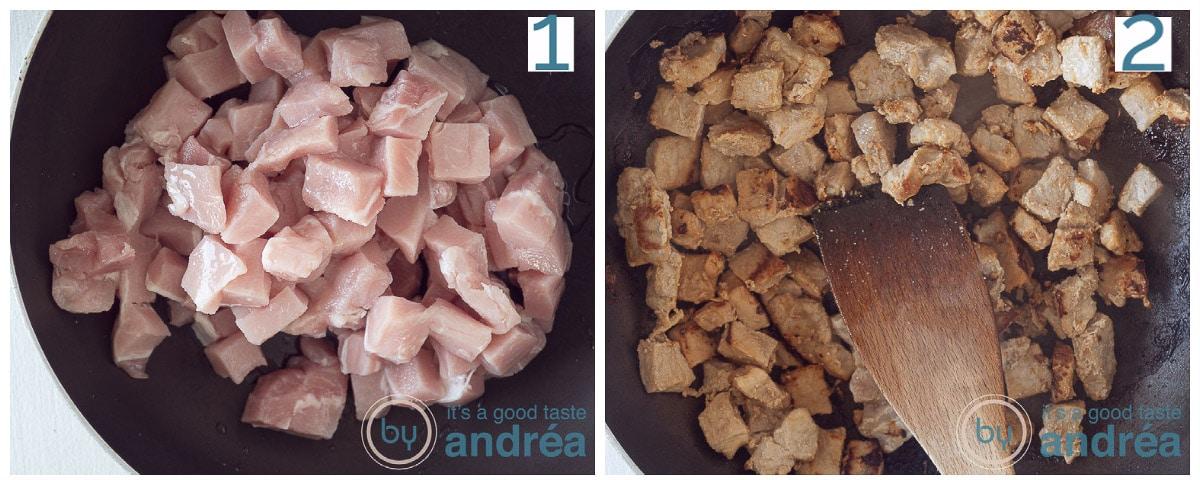 Bak de varkensfiletblokjes aan in de pan tot ze goudbruin zijn.