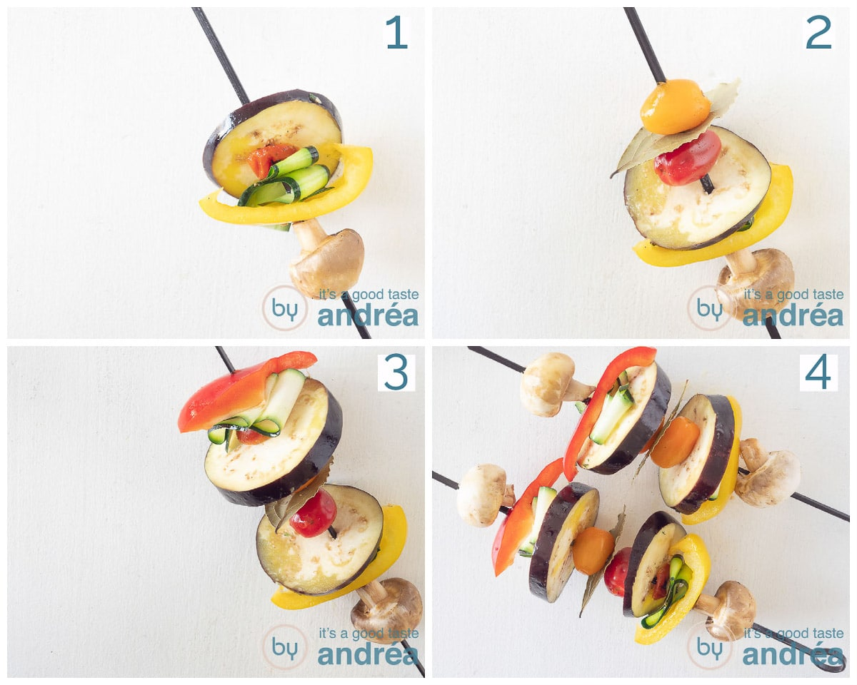 Put the veggies on the skewer in four steps