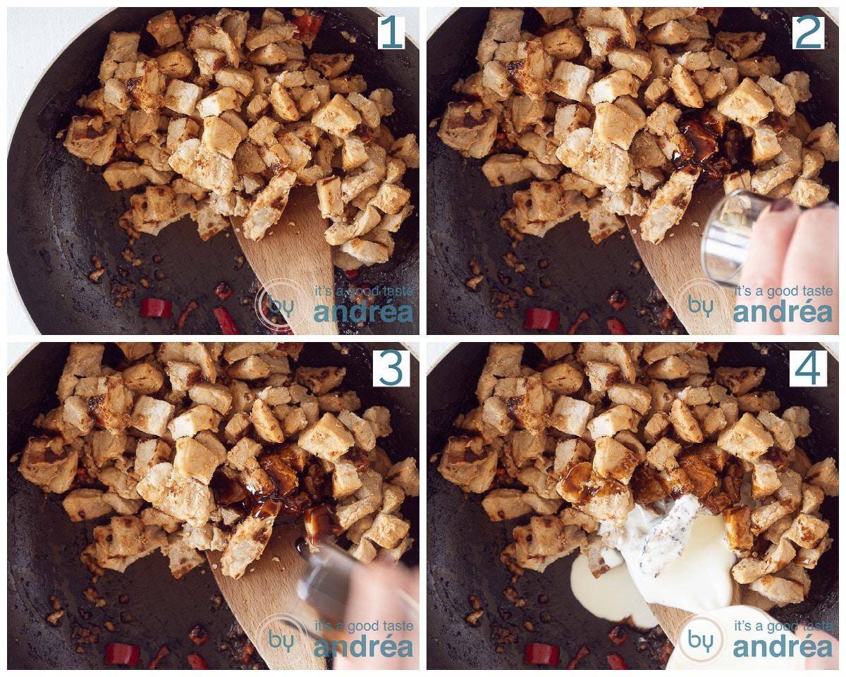 Doe de varkensfilet blokjes terug in de pan en voeg beide ketjap en slagroom toe.