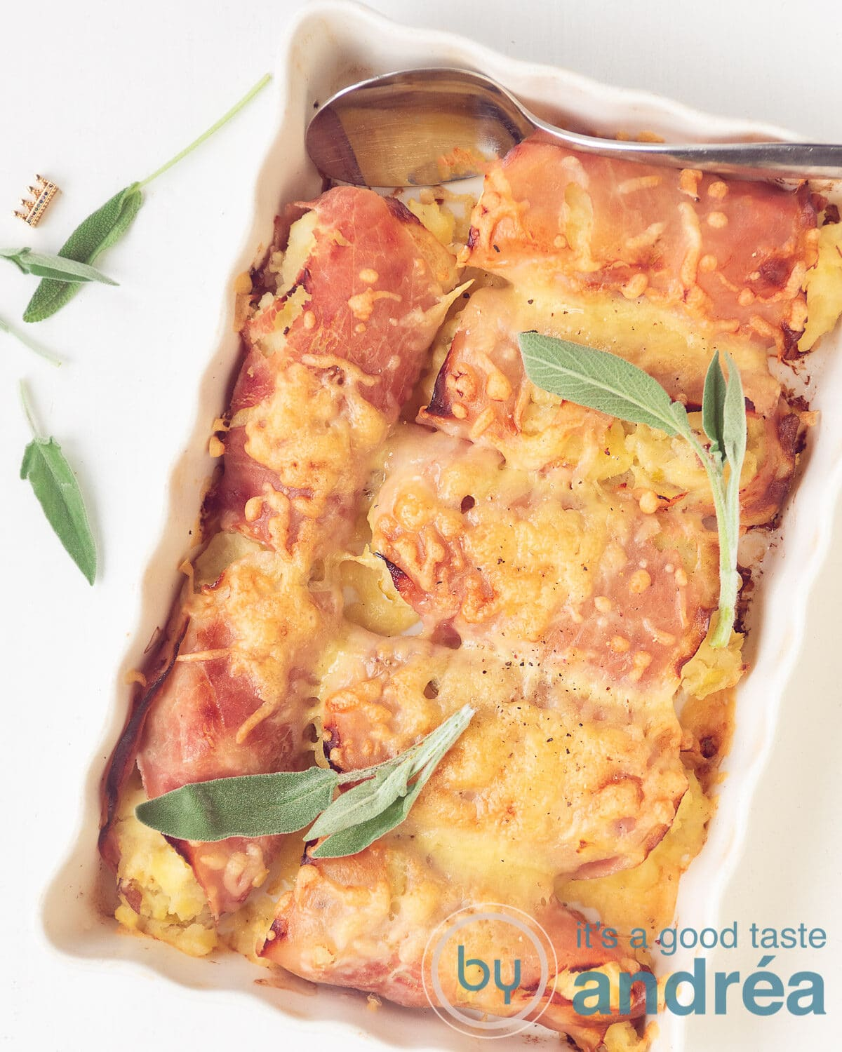 top photo of a chicory casserole with ham and sage