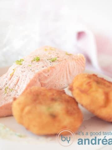 salmon smoked in tea with wasabi latkes