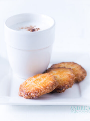 Salted butter cookies with a glass of milk