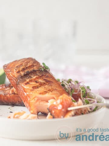 Brined salmon on the grill