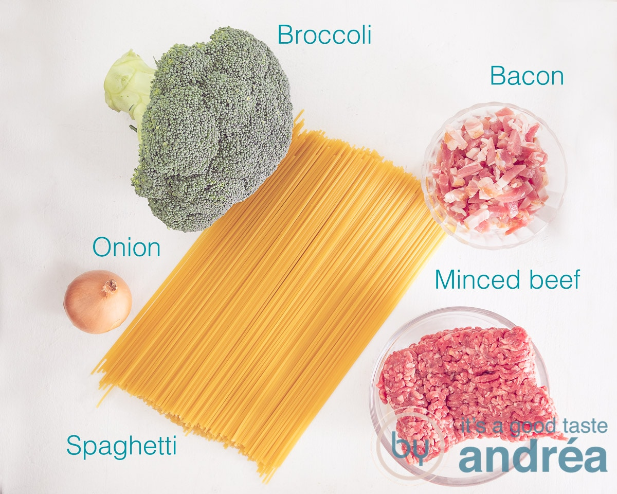 ingredients broccoli and bacon pasta