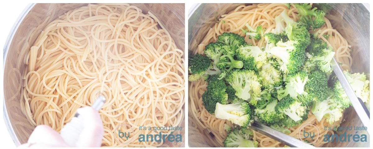 Meng wat olie door de spaghetti en doe de broccoli erbij
