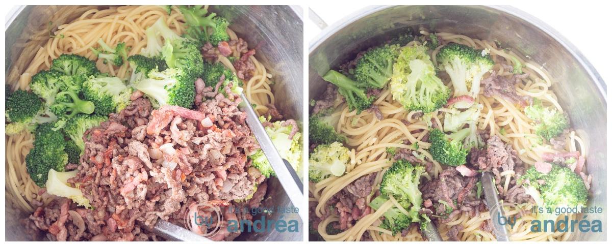 Doe het gehakt en spek mengsel bij de spaghetti en meng alles goed door.