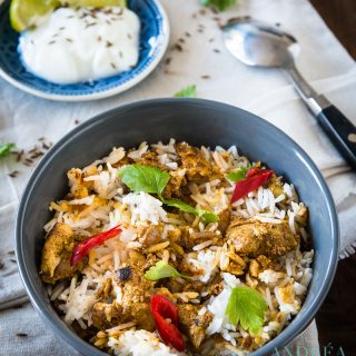 Chicken tikka biryani in a bowl