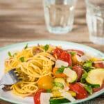 Spaghetti met roerbak courgette