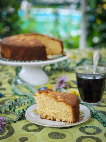 mawa cake on a cake platter