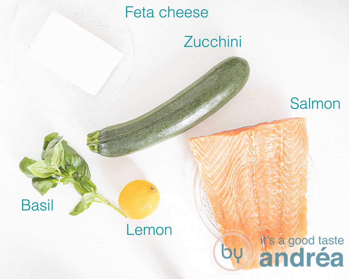 Ingredients salmon and courgette from the grill