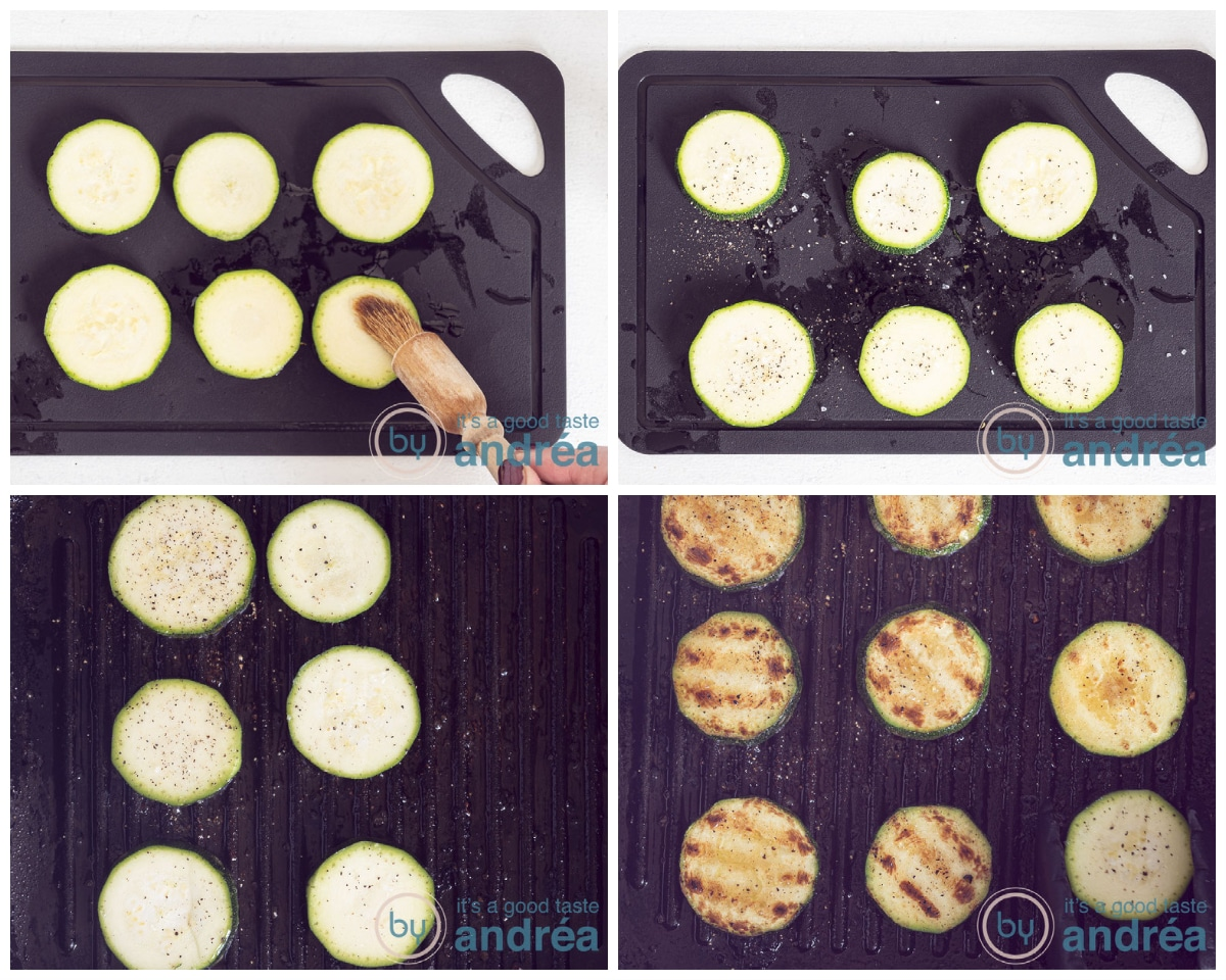 Grilled zucchini and flavored with salt and pepper