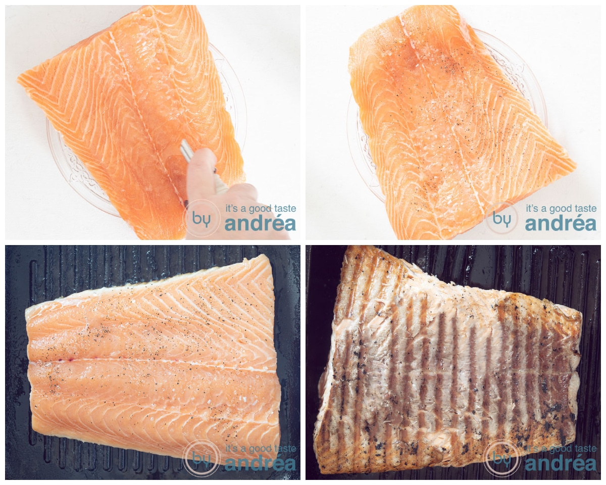 Salmon flavored and grilled in four steps