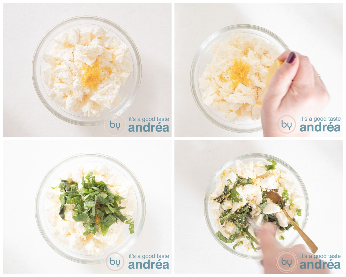 prepare the feta dressing with lemon, basil and olive oil in four steps