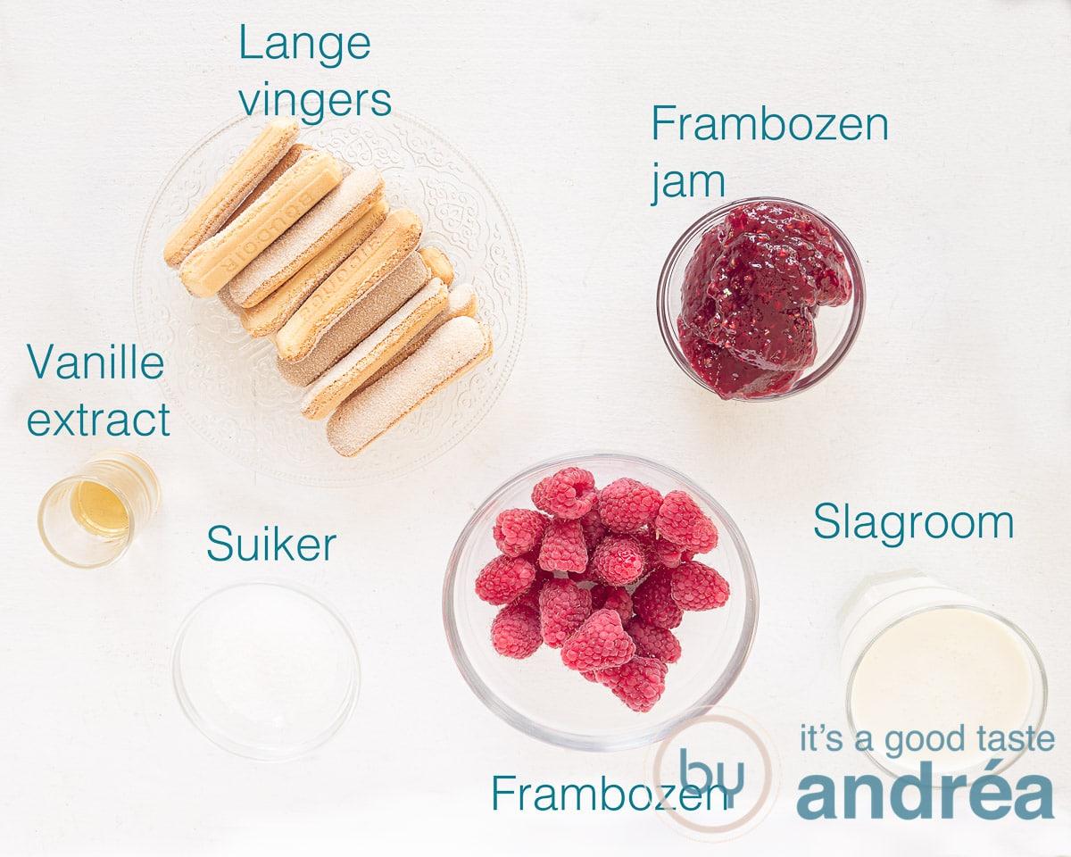 Ingrediënten frambozen trifle