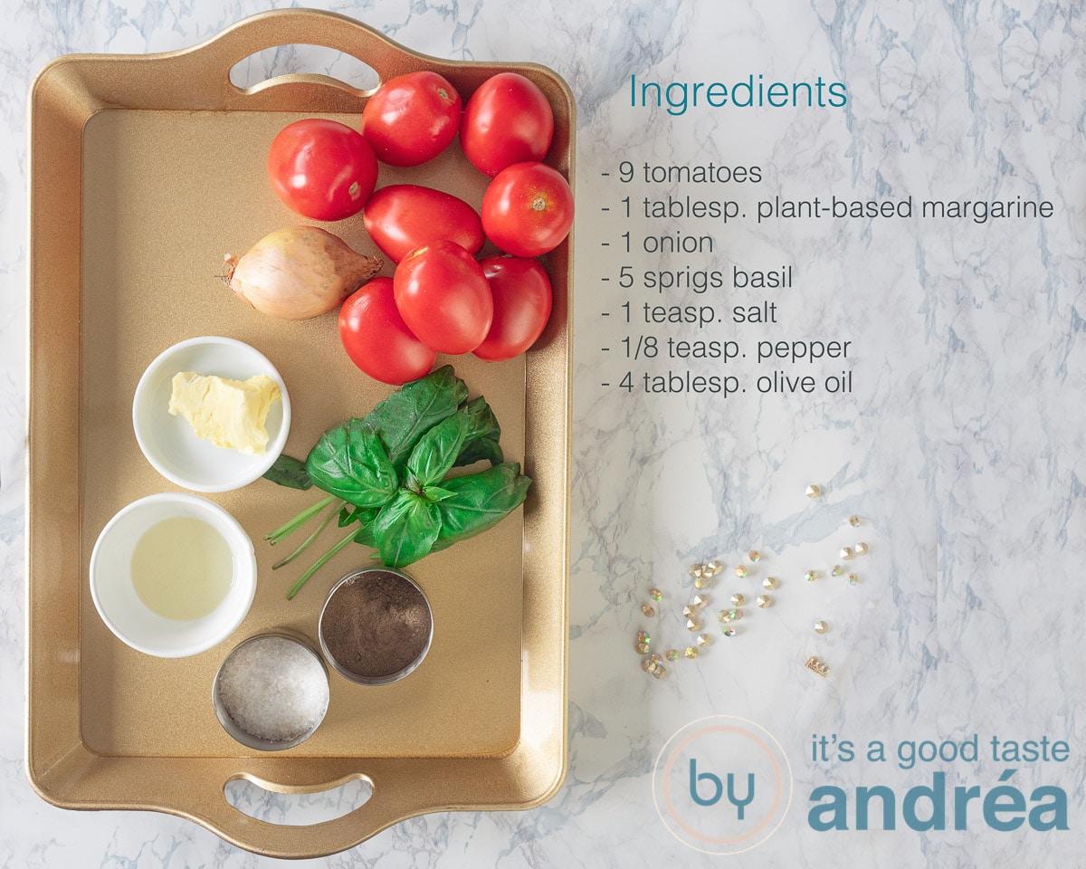Ingredients vegan tomato soup
