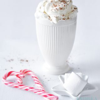 White hot chocolate in Christmas decor