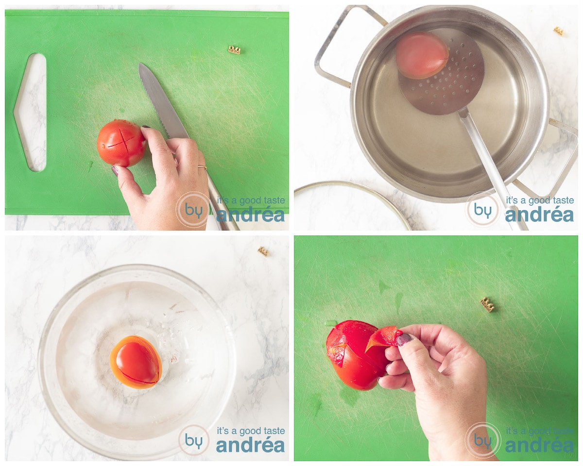 Remove the skin of a tomato in four steps