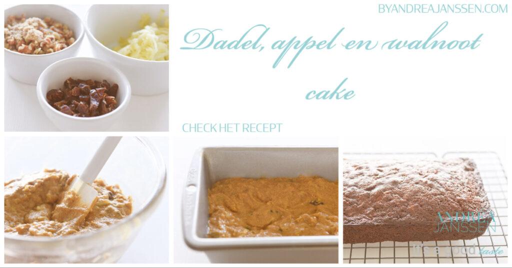 Dadel appel en walnoot cake