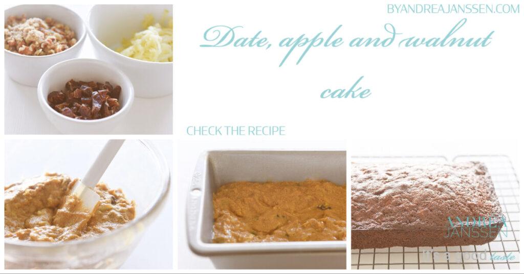 Date, apple and walnut cake