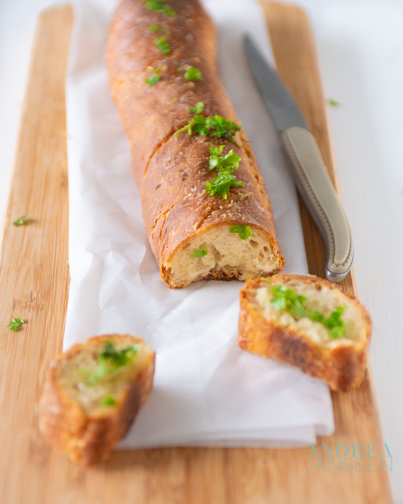 2 slices of Garlic baguette with herbs