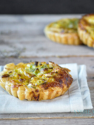 mini quiches with leek, thyme and smoked mackerel
