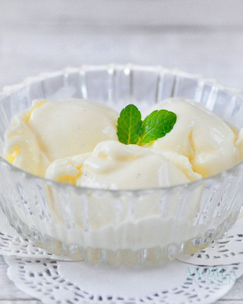 a bowl with white chocolate ice cream