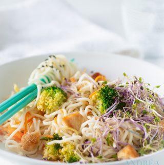 roerbak kip met groenten en noodles