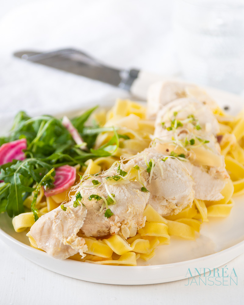 Tagliatelle and chicken filled with crab meat